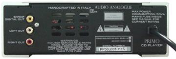 真空管CDプレーヤー イタリア オーディオアナログ PRIMO CDVT背面構造