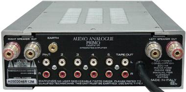 真空管プリメインアンプ イタリア オーディオアナログ PRIMO CENTO VT 背面構造