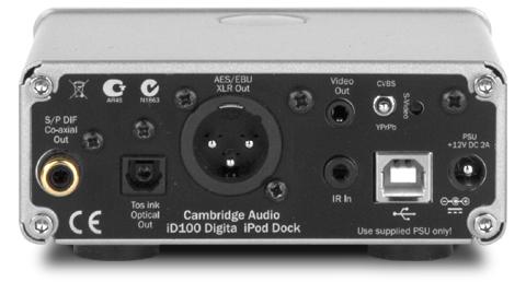 iD100 iPod・iPhone・iPad用デジタルドック イギリス ケンブリッジオーディオ Cambridge Audio 背面